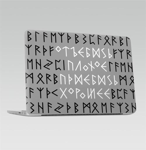 Наклейка на Ноутбук Apple Macbook Pro с Touch Bar Руны,  купить в Москве – интернет-магазин Allskins, одноцвет, этно, магия, надписи, мат, прикольные надписи