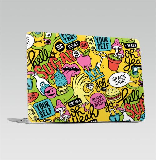 Наклейка на Ноутбук Macbook Pro 2016-2018 – Macbook Pro Touch Bar Saturday,  купить в Москве – интернет-магазин Allskins, надписи, алкоголь, суббота, сахар, детские, надписи на английском, комиксы, 300 Лучших работ