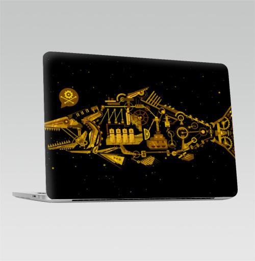 Наклейка на Ноутбук Macbook Pro 2016-2018 – Macbook Pro Touch Bar Киберпанк,  купить в Москве – интернет-магазин Allskins, механизм, рыба, киберпанк, кости, механика, хэллоуин, череп, пасть, металл, ЗОЛОТОЙ