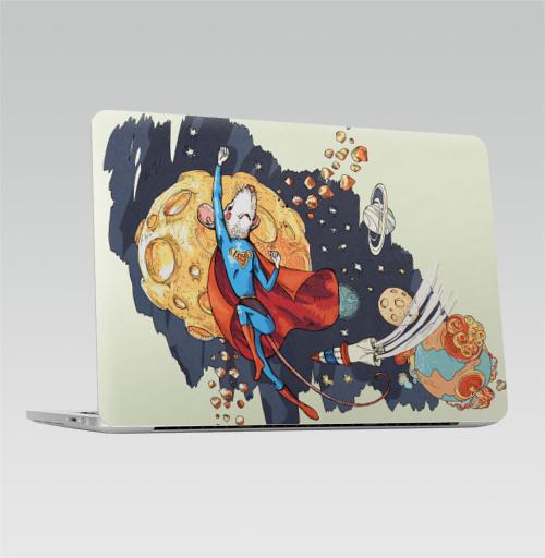 Наклейка на Ноутбук Macbook Pro 2016-2018 – Macbook Pro Touch Bar СуперМышь,  купить в Москве – интернет-магазин Allskins, летучая мышь, супермен, комиксы, космос, животные, мышь