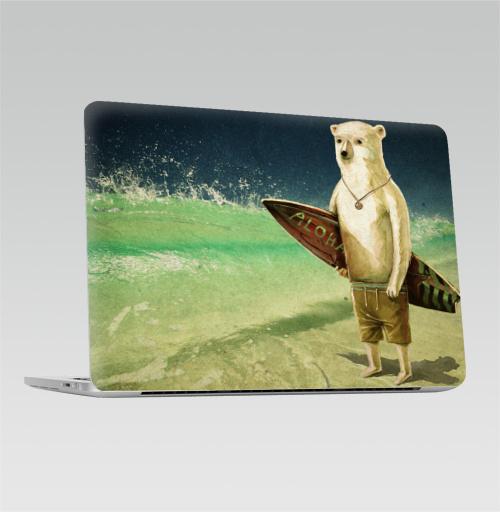 Наклейка на Ноутбук Macbook Pro 2016-2018 – Macbook Pro Touch Bar Алоха,  купить в Москве – интернет-магазин Allskins, лето, медведь, серфинг