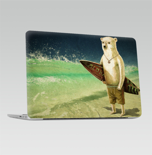 Наклейка на Ноутбук Apple Macbook Pro с Touch Bar Алоха,  купить в Москве – интернет-магазин Allskins, лето, медведь, серфинг