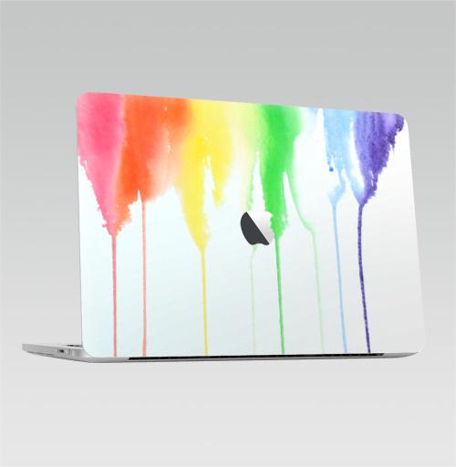 Наклейка на Ноутбук Macbook Pro 2016-2018 – Macbook Pro Touch Bar (с яблоком ) Радуга,  купить в Москве – интернет-магазин Allskins, спектр, акварель, радуга