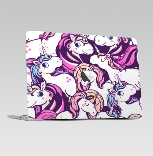 Наклейка на Ноутбук Macbook Pro 2016-2018 – Macbook Pro Touch Bar (с яблоком ) Единорогов много не бывает,  купить в Москве – интернет-магазин Allskins, мило, голубой, фиолетовый, розовый, лошадь, сказки, магия, единорог