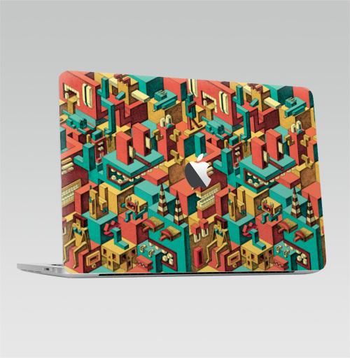 Наклейка на Ноутбук Apple Macbook Pro с Touch Bar (с яблоком) Геометрическая Вакханалия,  купить в Москве – интернет-магазин Allskins, яркий, графика, дудлы, психоделика, цвет, монстры, геометрия