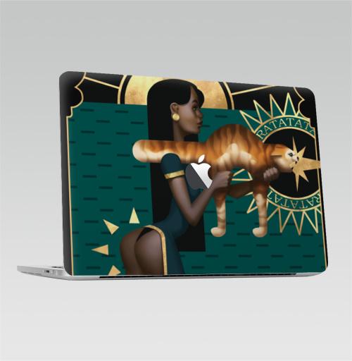 Наклейка на Ноутбук Macbook Pro 2016-2018 – Macbook Pro Touch Bar (с яблоком ) Рататата,  купить в Москве – интернет-магазин Allskins, кошка