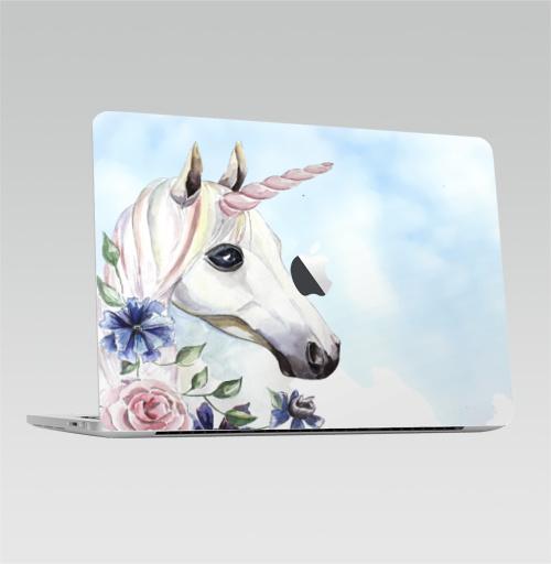 Наклейка на Ноутбук Macbook Pro 2016-2018 – Macbook Pro Touch Bar (с яблоком ) Единорог в цветах,  купить в Москве – интернет-магазин Allskins, единорог, цветы, акварель, васильки, василек, розовый, голубой, пастельный, лошадь
