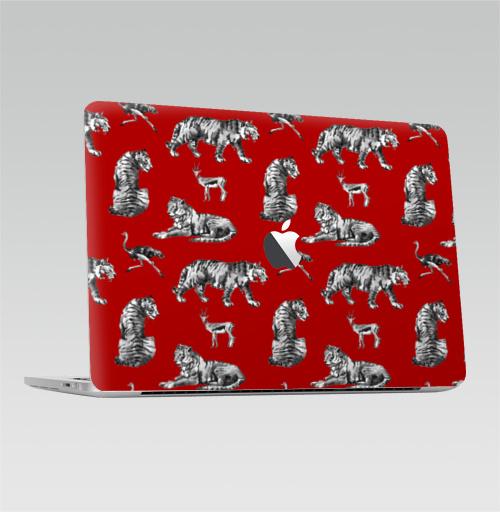Наклейка на Ноутбук Macbook Pro 2016-2018 – Macbook Pro Touch Bar (с яблоком ) Тигры на красном,  купить в Москве – интернет-магазин Allskins, зверушки, африка, Саванна, антилопа, дикая, природа, фауна, хищник, добыча