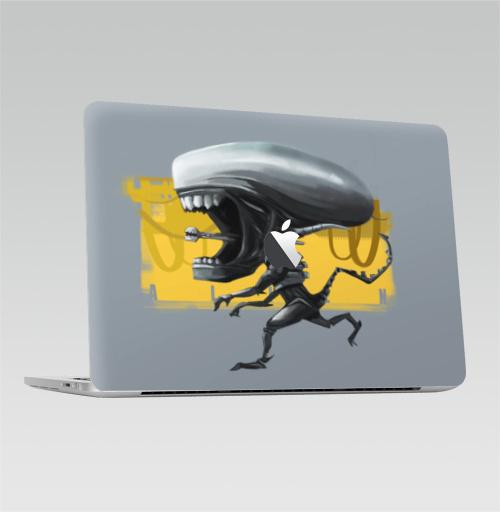 Наклейка на Ноутбук Macbook Pro 2016-2018 – Macbook Pro Touch Bar (с яблоком ) Ксеноморф,  купить в Москве – интернет-магазин Allskins, кино, чужой, чибик, фанарт, фантастика