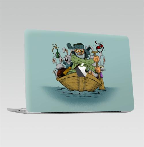 Наклейка на Ноутбук Macbook Pro 2016-2018 – Macbook Pro Touch Bar (с яблоком ) Дед Мазай,  купить в Москве – интернет-магазин Allskins, прикол, детские, легенда, весна, животные, заяц
