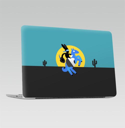 Наклейка на Ноутбук Macbook Pro 2016-2018 – Macbook Pro Touch Bar (с яблоком ) Синийконь,  купить в Москве – интернет-магазин Allskins, черный, зорро, синий, лошадь, заяц