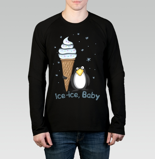 Футболка мужская лонгслив black - Ice-ice, baby
