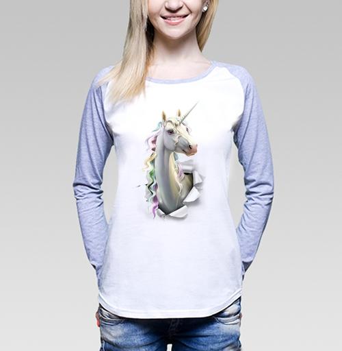 Единорог в лесу, Antracit, Футболка женская с длинным рукавом бело-серая