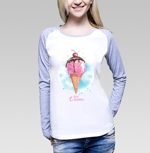Фруктовое мороженко, nati191, Футболка женская с длинным рукавом бело-серая