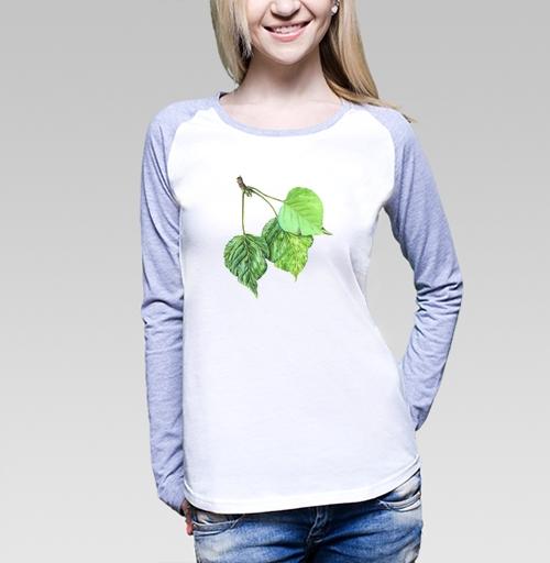 Листья тополя, vika6464, KVA 64, Футболка женская с длинным рукавом бело-серая