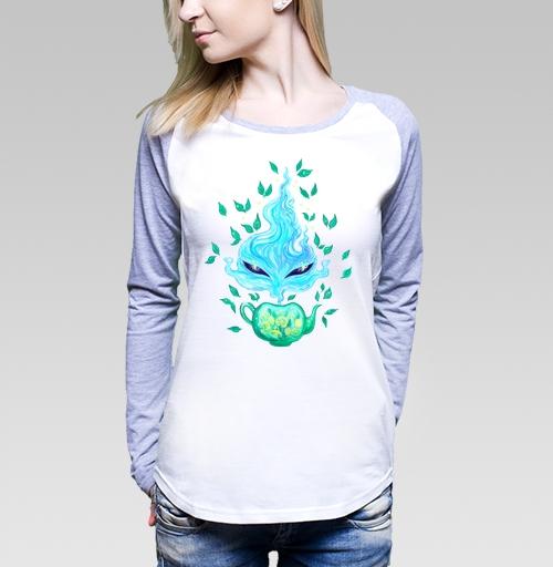Мятный чай, KataMk, Магазин футболок  ^..^  Катейка, Футболка женская с длинным рукавом бело-серая