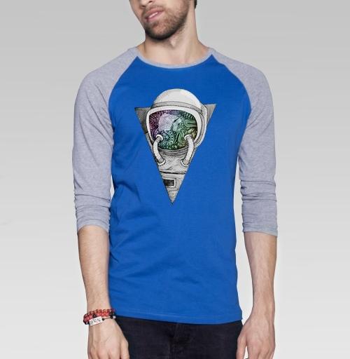 Космонавт, sofika0707, Магазин футболок sofika0707, Футболка мужская с длинным рукавом синий / серый меланж