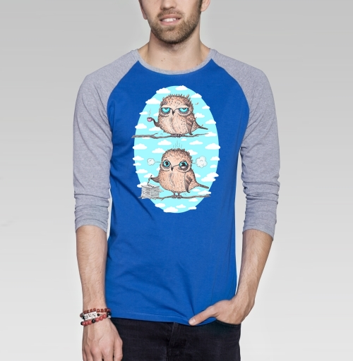 Пташки - работяжки, KataMk, Магазин футболок  ^..^  Катейка, Футболка мужская с длинным рукавом синий / серый меланж
