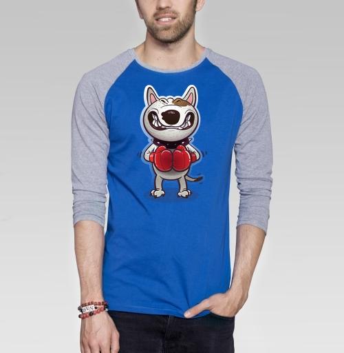 Сердитый буль, Banz, Магазин футболок Banzainer, Футболка мужская с длинным рукавом синий / серый меланж