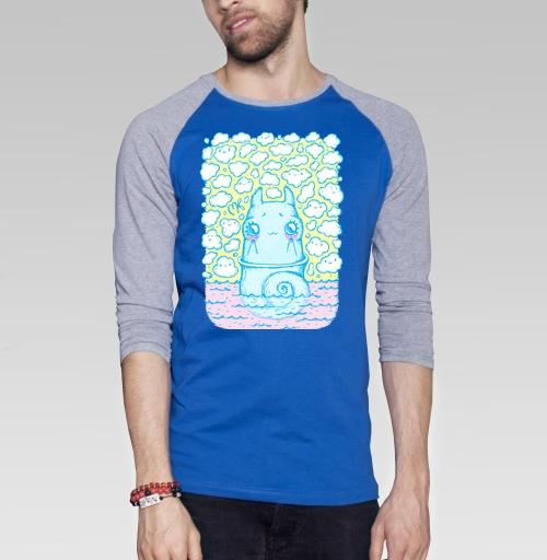 Улитка в облаках, KataMk, Магазин футболок  ^..^  Катейка, Футболка мужская с длинным рукавом синий / серый меланж