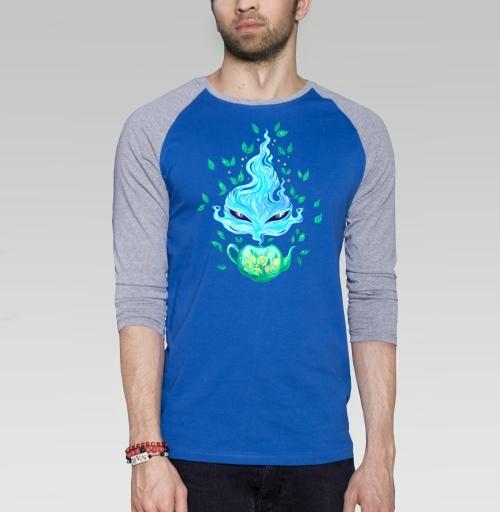 Мятный чай, KataMk, Магазин футболок  ^..^  Катейка, Футболка мужская с длинным рукавом синий / серый меланж