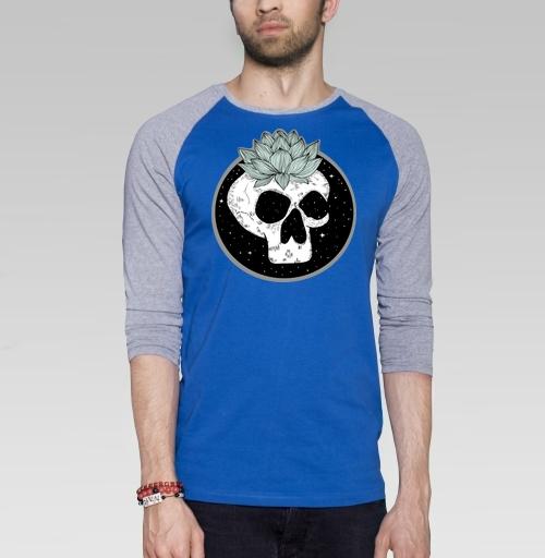 Череп лотос , Hopman, Магазин футболок Hopman, Футболка мужская с длинным рукавом синий / серый меланж