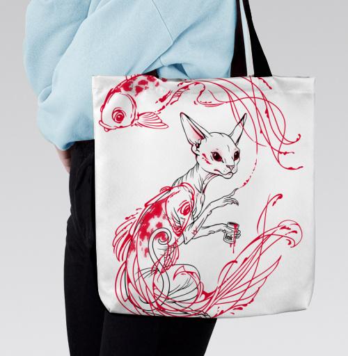 Кот и рыбки, martha, Магазин футболок martha, Сумка с полной запечаткой