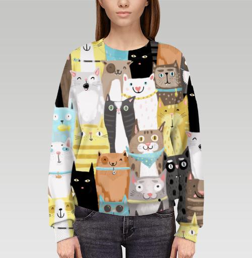 Cвитшот женский оверсайз 3D - Многокотов