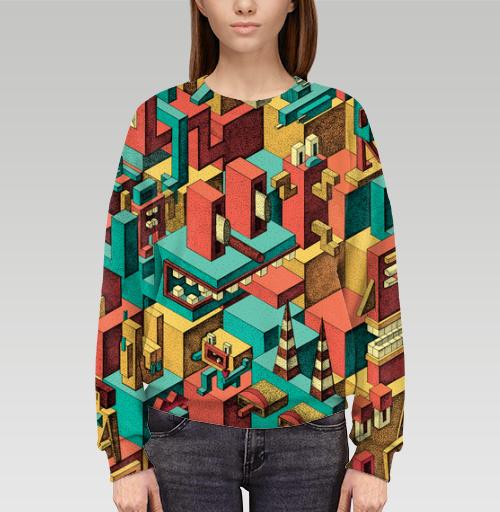 Cвитшот женский оверсайз 3D - Геометрическая Вакханалия