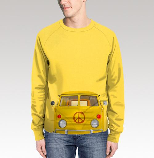 Хиппи Автобус, DariaDaTipina, Магазин футболок Daria DaTipina, Свитшот мужской без капюшона (полная запечатка)