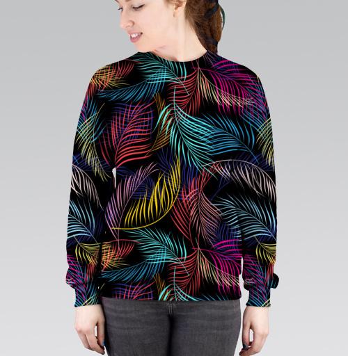 Cвитшот женский 3D v2 - Разноцветные листья пальмы