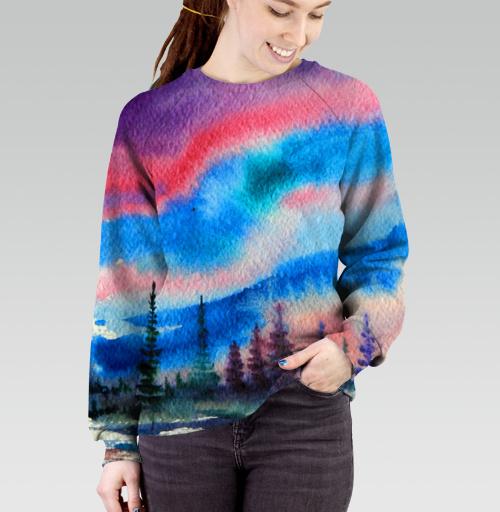 Полярное сияние, Atman, Магазин футболок Atman, Cвитшот женский 3D