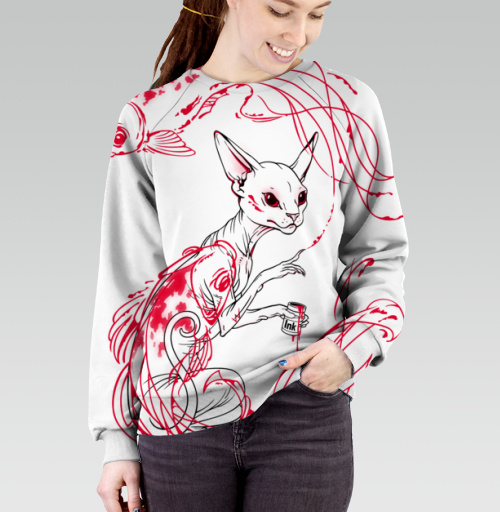Кот и рыбки, martha, Магазин футболок martha, Cвитшот женский без капюшона (полная запечатка)