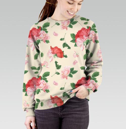 Розовые розы на кремовом фоне, T-Push, Cвитшот женский без капюшона (полная запечатка)