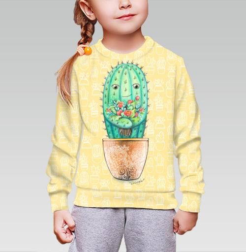 Cвитшот детский для девочки 3D (v2). - Кактус с цветами