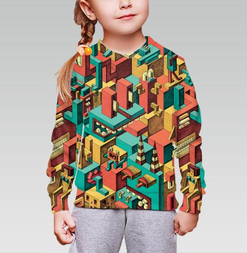 Cвитшот детский для девочки 3D (v2). - Геометрическая Вакханалия