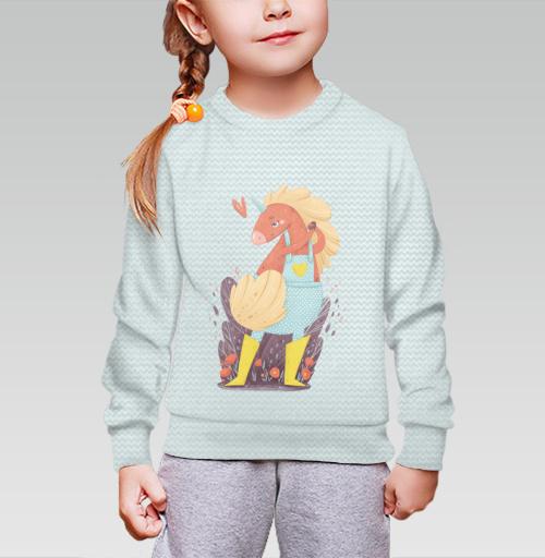 Cвитшот детский для девочки 3D (v2). - Единорог в желтых сапожках