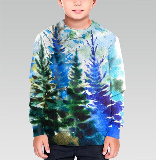 Хвойный синий лес, Atman, Магазин футболок Atman, Cвитшот детский без капюшона (полная запечатка)