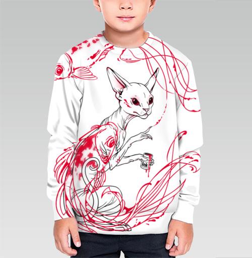Кот и рыбки, martha, Магазин футболок martha, Cвитшот детский без капюшона (полная запечатка)