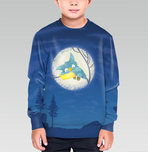 Спящая сова, martha, Магазин футболок martha, Cвитшот детский без капюшона (полная запечатка)
