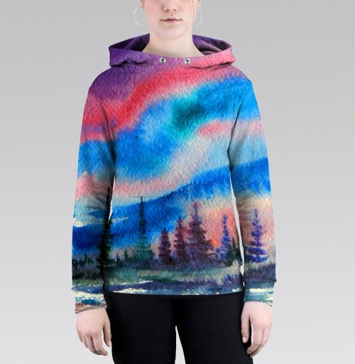 Полярное сияние, Atman, Магазин футболок Atman, Толстовка женская с карманом 3D