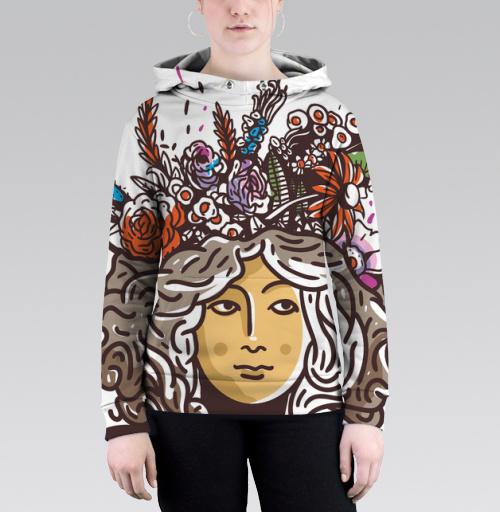 Дева Прана, Trudvoblago, Магазин футболок Trudvoblago, Толстовка женская с карманом (полная запечатка)