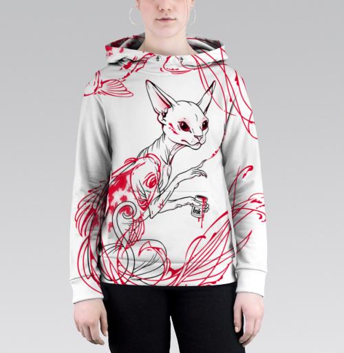 Кот и рыбки, martha, Магазин футболок martha, Толстовка женская с карманом (полная запечатка)