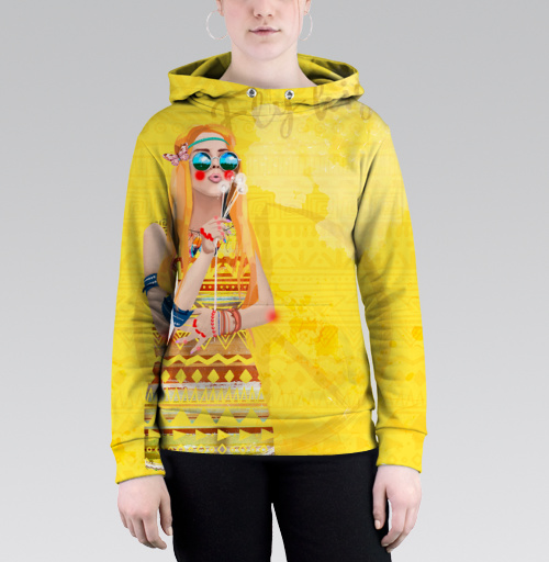 Девушка Хиппи, DariaDaTipina, Магазин футболок Daria DaTipina, Толстовка женская с карманом (полная запечатка)