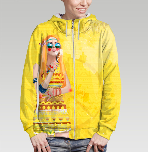 Девушка Хиппи, DariaDaTipina, Магазин футболок Daria DaTipina, Толстовка женская на молнии (полная запечатка)