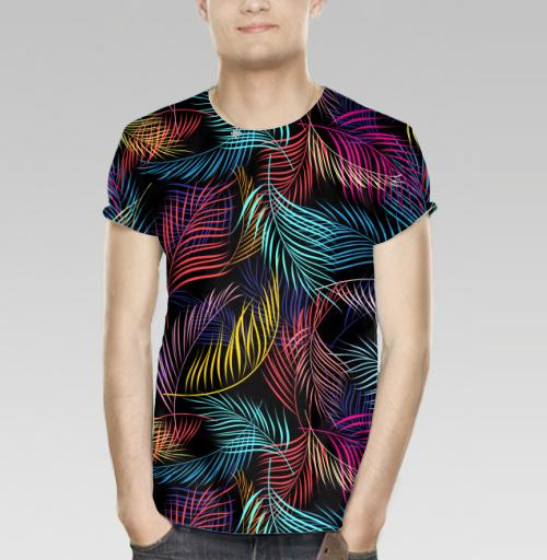 Футболка мужская 3D - Разноцветные листья пальмы