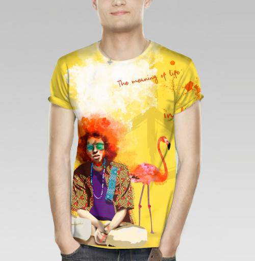 Парень Хиппи, DariaDaTipina, Магазин футболок Daria DaTipina, Футболка мужская (полная запечатка)