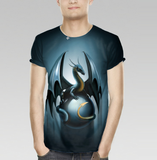 Фотография футболки Дракон на стеклянном шаре