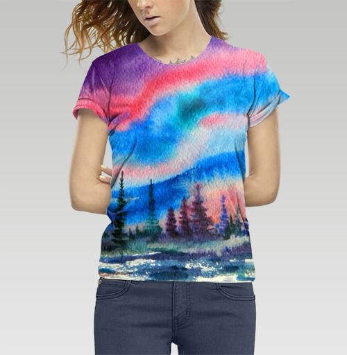 Полярное сияние, Atman, Магазин футболок Atman, Футболка женская c полной запечаткой