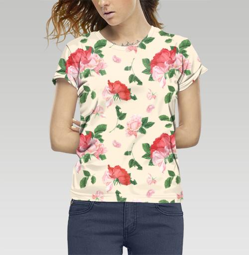 Розовые розы на кремовом фоне, T-Push, Футболка женская c полной запечаткой